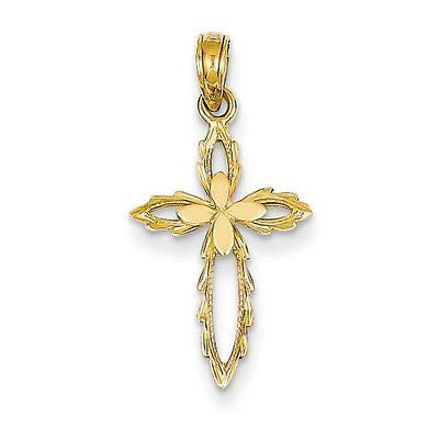 14k Cross Cut-out Pendant with 14k Chain, Size 16 - shopvistar