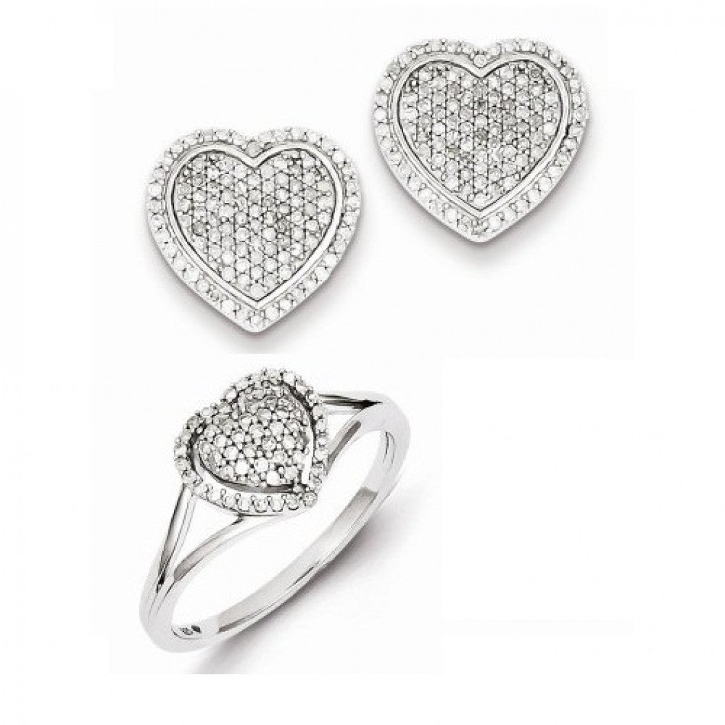 Sterling Silver Rhodium-plated Diamond Puffed Earrings and Ring Set - shopvistar