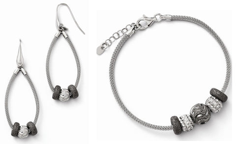 Leslies Sterling Silver Dia-Cut Five Beaded Mesh with 1in ext. Bracelet and Earrings Set - shopvistar