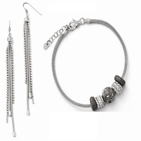 Leslies Sterling Silver Four Strand Beaded and Mesh Dangle Earrings and Bracelet Set - shopvistar