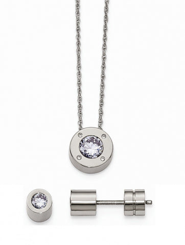 Stainless Steel CZ June Synthetic Birthstone Earrings and Necklace - shopvistar