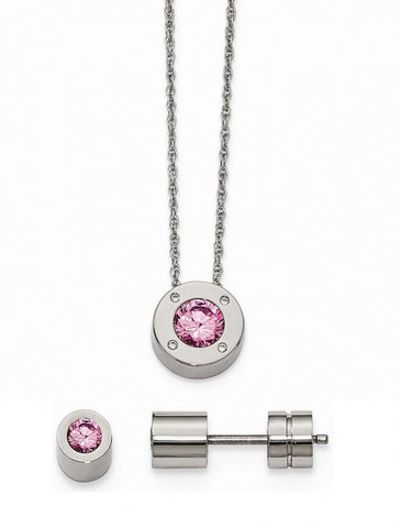 Stainless Steel Cz October Synthetic Birthstone Earrings and Necklace - shopvistar