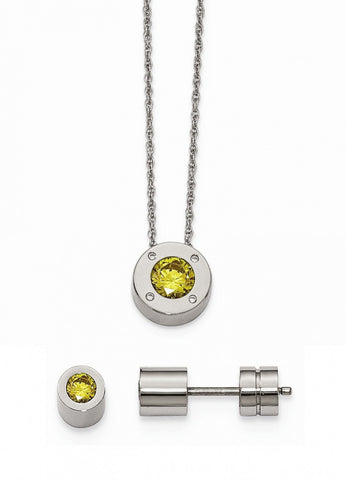 Stainless Steel Cz November Synthetic Birthstone Earrings and Necklace - shopvistar