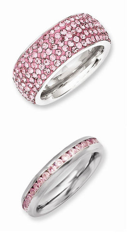 Stainless Steel Pink 2 Set Rings - shopvistar