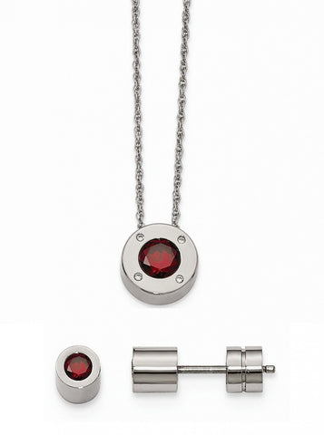 Stainless Steel Cz January Synthetic Birthstone Earrings and Necklace - shopvistar