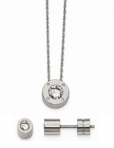 Stainless Steel Cz April Synthetic Birthstone Earrings and Necklace - shopvistar