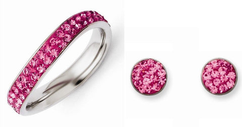 Stainless Steel Pink Crystal Polished Post Earrings and Ring Set - shopvistar