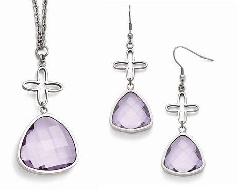 Stainless Steal Flower Purple Glass Earrings and Pendant Set - shopvistar