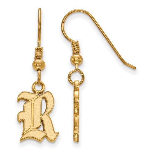 Sterling Silver w/Gold plated Rice University Small Dangle Earrings - shopvistar