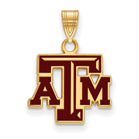 Texas A&M Sterling Silver Small Enamel Pendant - shopvistar