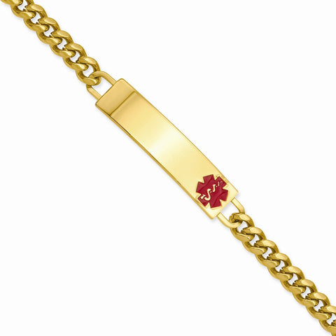8.25IN GOLD-PLATED LARGE RED EPOXY  MEDICAL ID BRACELET - shopvistar
