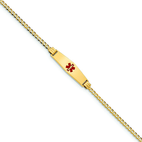 14K MEDICAL SOFT DIAMOND SHAPE RED  ENAMEL C- LINK ID BRACECET - shopvistar
