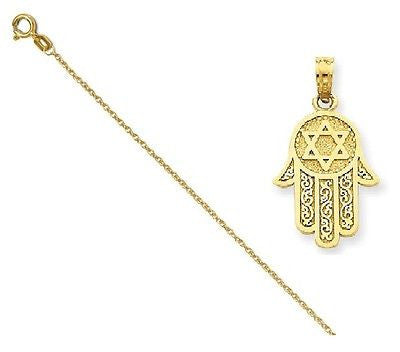 14k Jewish Hand of God w/Star of David Pendant with 14k Chain, Size 18 - shopvistar