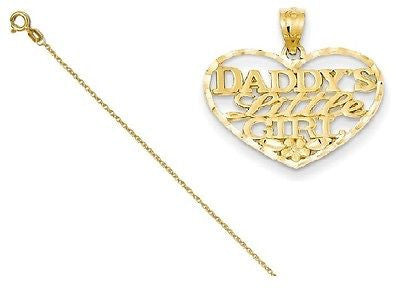 14k D/C Daddys Little Girl Heart Pendant with 14k Chain [20] - shopvistar