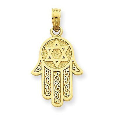 14k Jewish Hand of God w/Star of David Pendant with 14k Chain, Size 24 - shopvistar