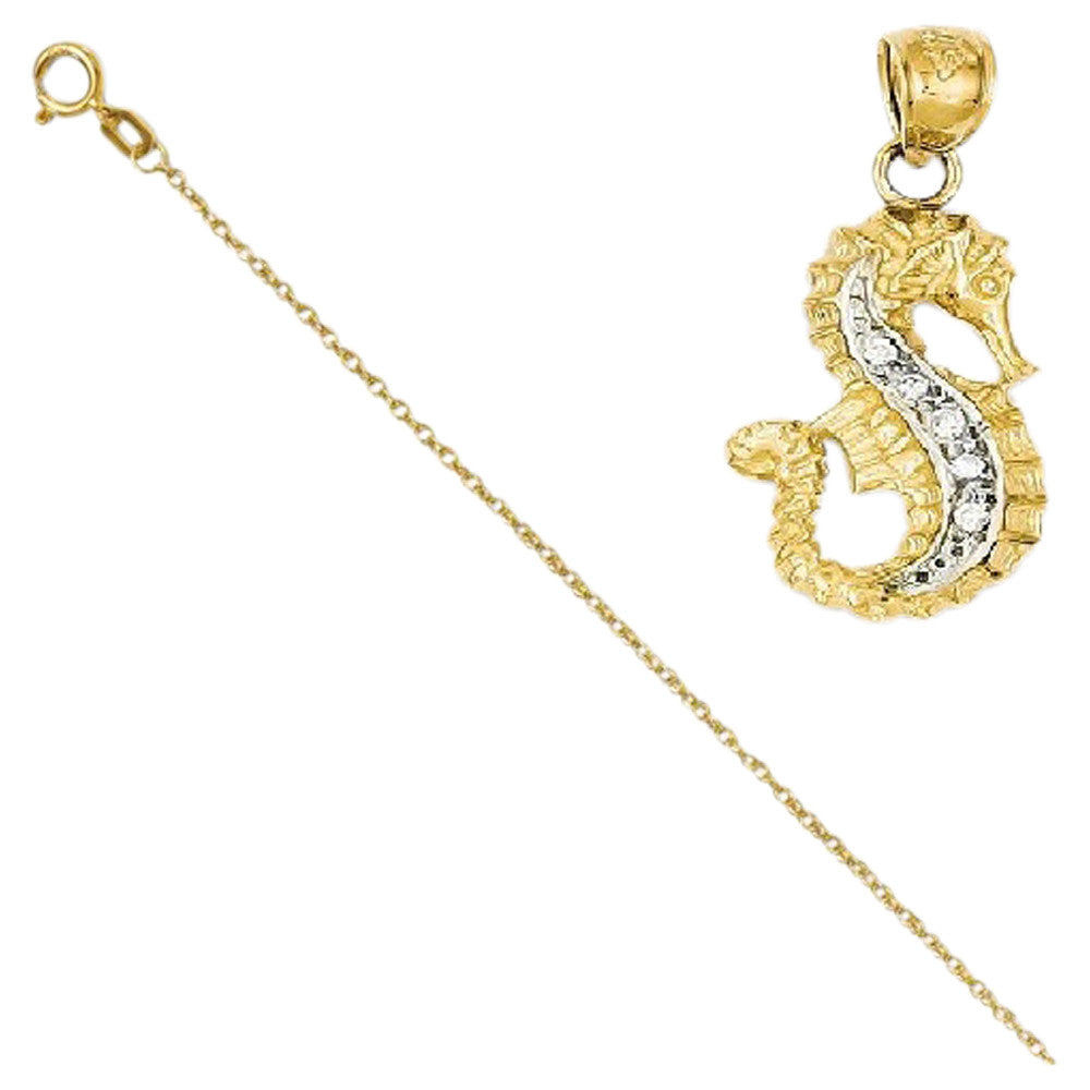 14K Diamond Seahorse Pendant with 14k Chain, Length 24 [Jewelry] - shopvistar