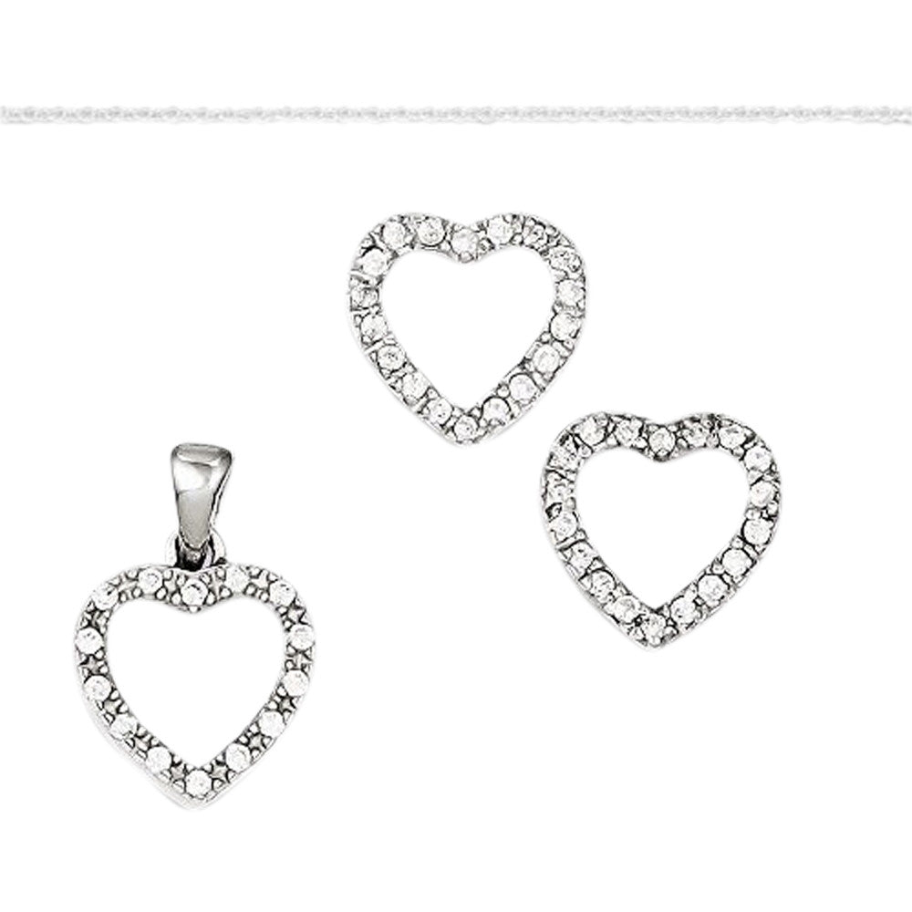 Sterling Silver CZ Heart Pendant & Earring Set with Silver Chain, Length 16 - shopvistar