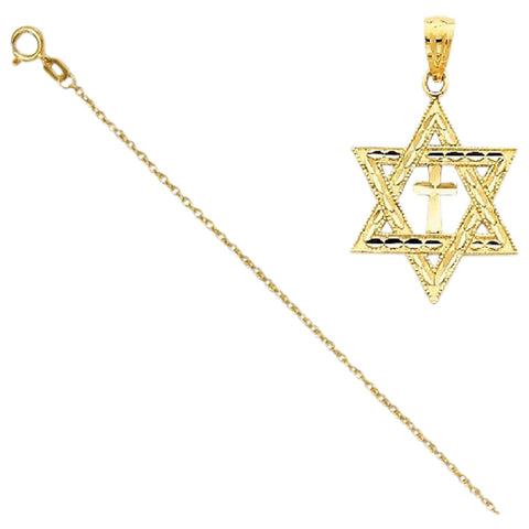 14k Diamond-Cut Star Of David W/Cross Pendant with 14k Chain, Length 24 - shopvistar