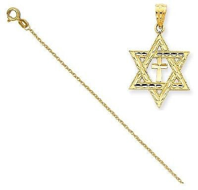 14k Diamond-Cut Star Of David W/Cross Pendant with 14k Chain [16] - shopvistar