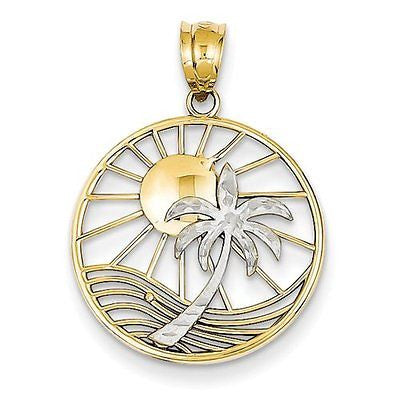14k Two tone Sun & Palm Tree Pendant with 14k Chain [24] - shopvistar