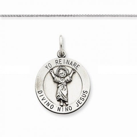 Set of Sterling Silver Religious Jewelry Chain with Jesus Pendant for Children - shopvistar