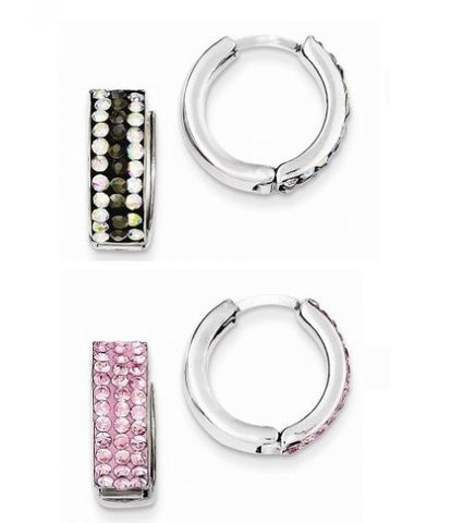 Set of Sterling Silver Gray/Rainbow and Pink Preciosa Crystal Hoop Earrings - shopvistar