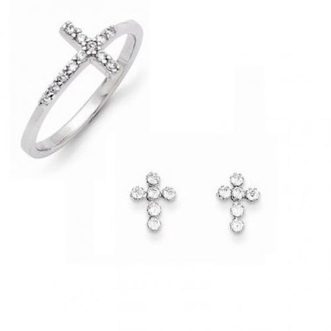 Cross Set of 14k Earrings and Sterling Silver Ring - shopvistar