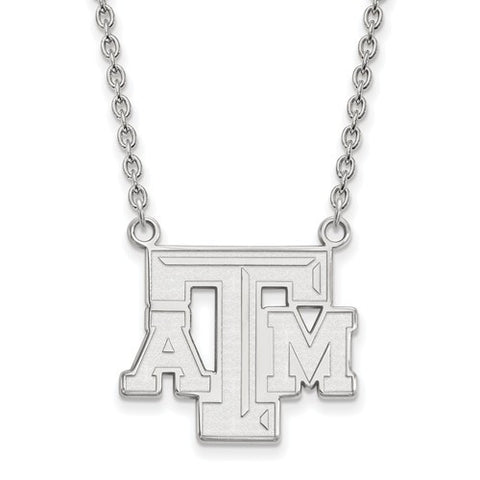 Texas A&M Sterling Silver Large Pendant w/ Necklace - shopvistar