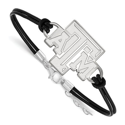 Texas A&M Sterling Silver Large Center Leather Bracelet - shopvistar
