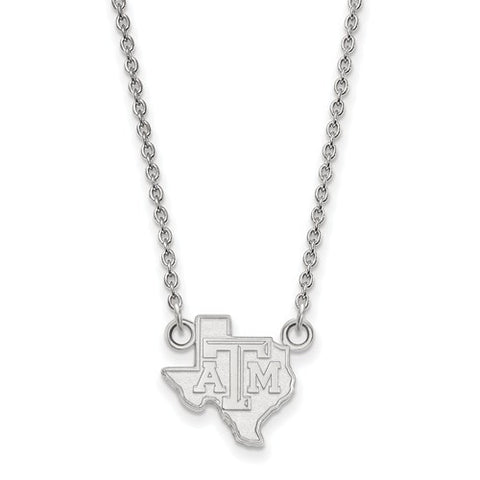 Texas A&M Sterling Silver Small Pendant w/ Necklace - shopvistar