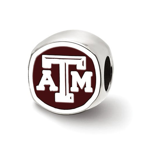 Texas A&M Sterling Silver Cushion Shaped Logo Bead - shopvistar