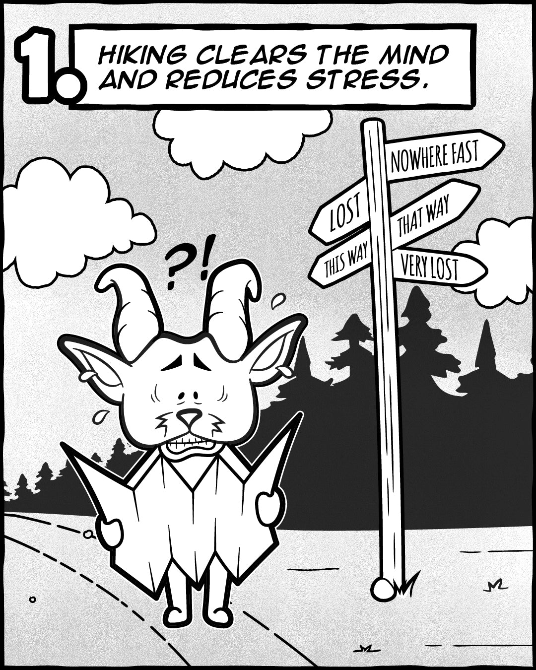 Hiking Reduces Stress - 5 Reasons Hiking Is Good For Your Soul, The Adventures Of Lambert Comic Series   TRVRS Outdoors