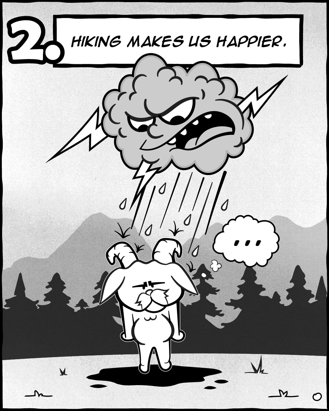 Hiking Makes Us Happier - 5 Reasons Hiking Is Good For Your Soul, The Adventures Of Lambert Comic Series   TRVRS Outdoors