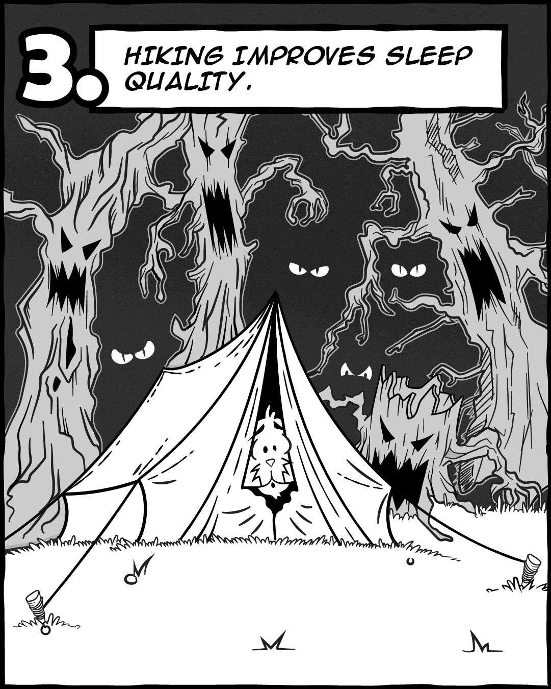 Hiking Improves Sleep Quality - 5 Reasons Hiking Is Good For Your Soul, The Adventures Of Lambert Comic Series   TRVRS Outdoors