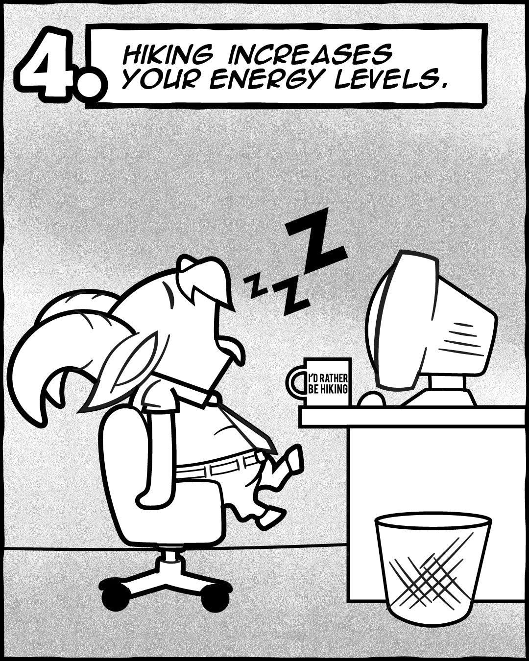 Hiking Increases Energy Levels - 5 Reasons Hiking Is Good For Your Soul, The Adventures Of Lambert Comic Series   TRVRS Outdoors