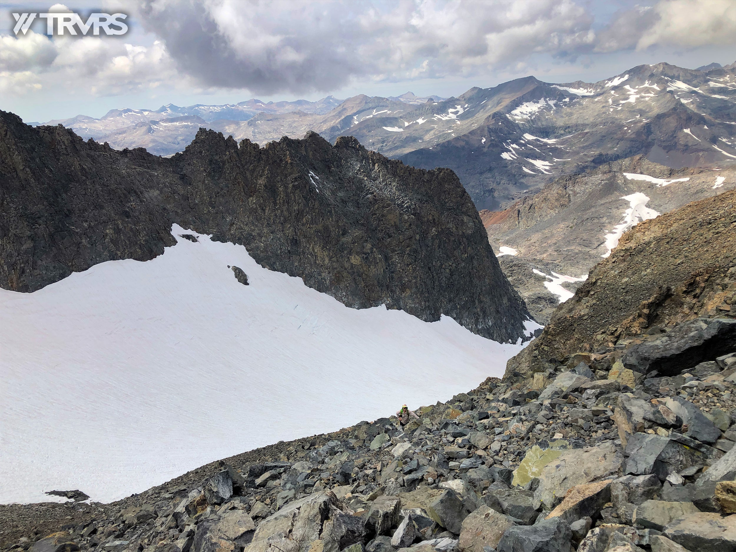 Looking down the Southwest Slope of Banner Peak  - Ritter-Banner Saddle, Lake Catherine, Glacier Pass, Thousand Island Lake, River Trail, Pacific Crest Trail, Middle Fork, Agnew Meadow, Ansel Adams Wilderness, Mammoth Lakes, Sierra Nevada | TRVRS Apparel