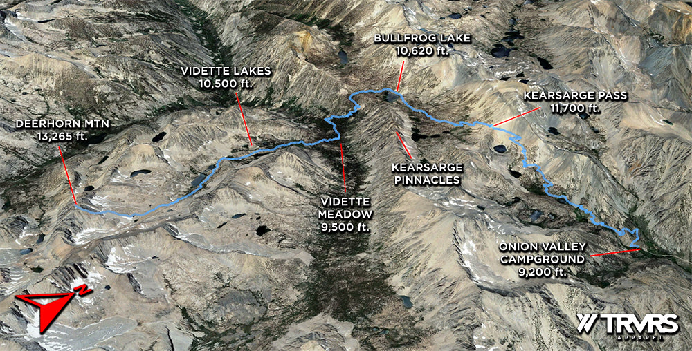 Deerhorn Mountain via Onion Valley Kings Canyon - Google Earth Overview | TRVRS APPAREL