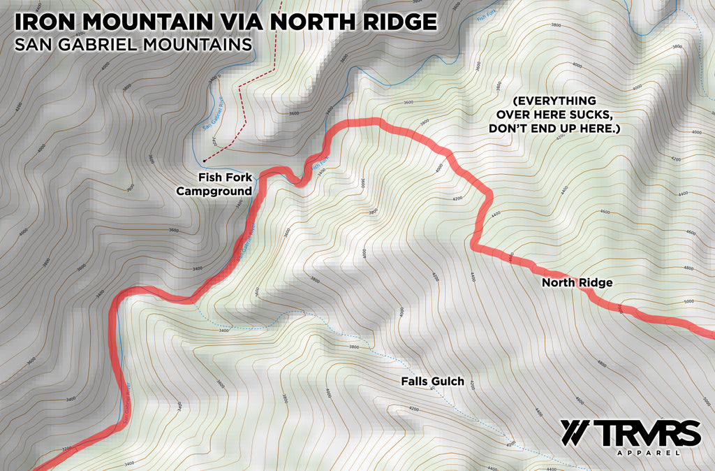 Topographical map with route - North Rige Iron Mountain | TRVRS Apparel
