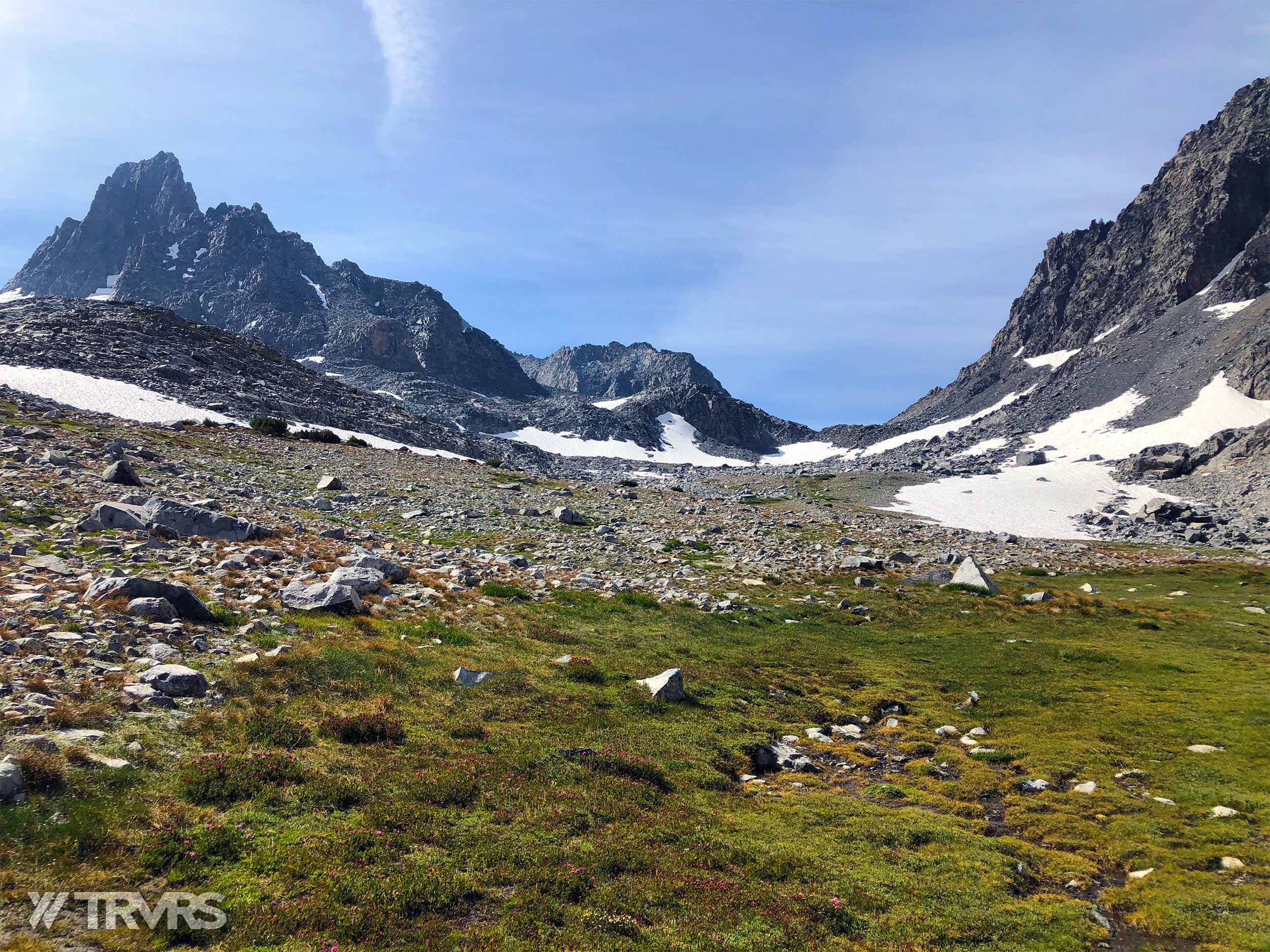 Approaching Glacier Pass- Banner Peak, Ritter-Banner Saddle, Lake Catherine, Glacier Pass, Thousand Island Lake, River Trail, Pacific Crest Trail, Middle Fork, Agnew Meadow, Ansel Adams Wilderness, Mammoth Lakes, Sierra Nevada | TRVRS Apparel