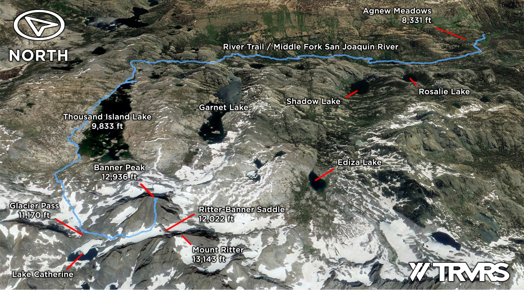 Google Earth Overview - Banner Peak via Lake Catherine, Ritter-Banner Saddle, Glacier Pass, Thousand Island Lake, Pacific Crest Trail, Middle Fork San Joaquin River, River Trail, Agnew Meadows, Ansel Adams Wilderness, Mammoth Lakes, Sierra Nevada Mountains | TRVRS Apparel