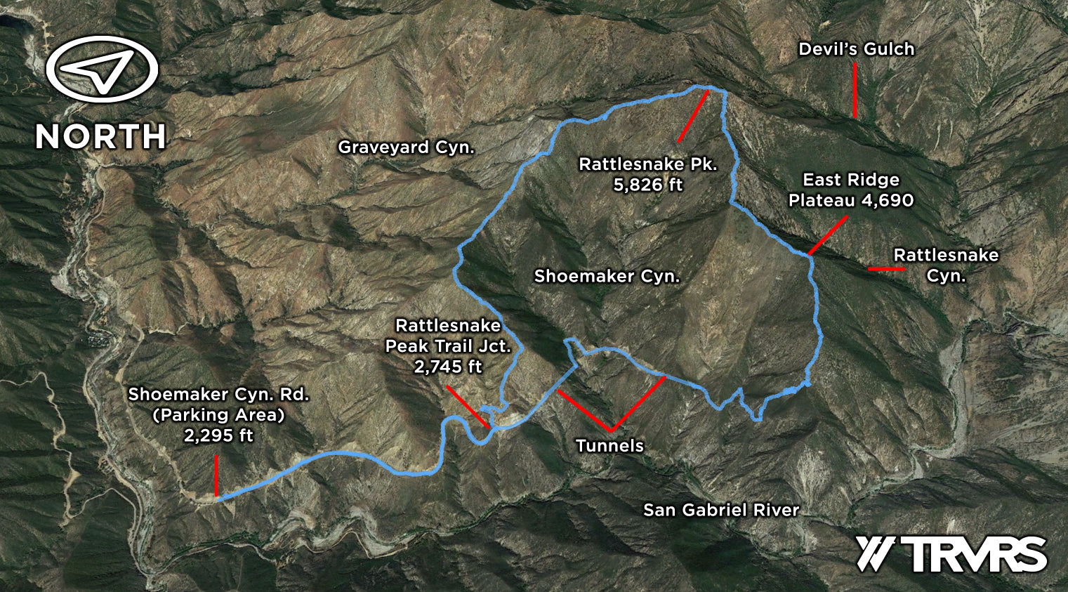 Google Earth Overview - East Ridge of Rattlesnake Peak, Shoemaker Canyon, San Gabriel Mountains, Angeles National Forest | TRVRS Outdoors