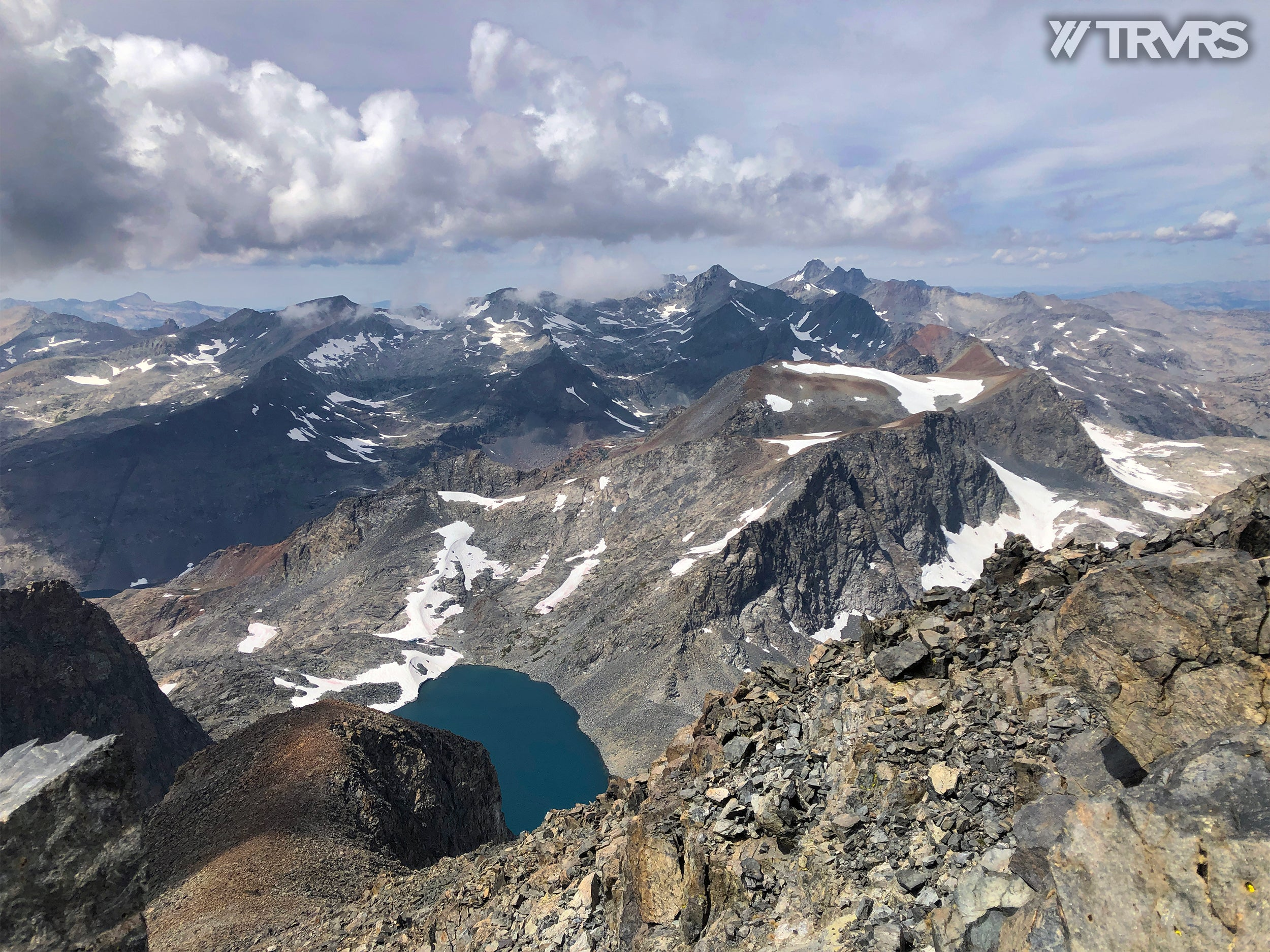 Looking West from Banner Peak - Ritter-Banner Saddle, Lake Catherine, Glacier Pass, Thousand Island Lake, River Trail, Pacific Crest Trail, Middle Fork, Agnew Meadow, Ansel Adams Wilderness, Mammoth Lakes, Sierra Nevada | TRVRS Apparel