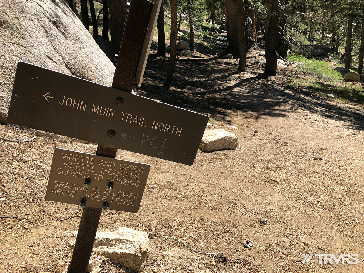 Pacific Crest John Muir Trail Sign Upper Vidette Meadow Bubbs Creek - Kings Canyon National Park | TRVRS APPAREL