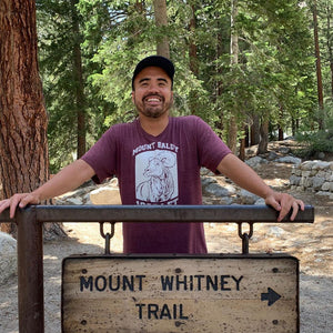 Justin @Justroc Mount Baldy Tee Mount Whitney Lone Pine California TRVRS Outdoors Sierra Nevada Mountains San Gabriel Angeles National Forest TRVRS Outdoors Hiking Trail Running Mountaineering