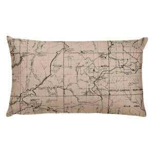 Angeles Forest Map Premium Throw Pillow (20x12) - BEIGE | TRVRS APPAREL