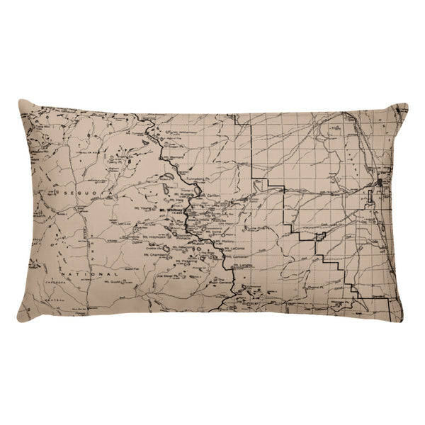 Sierra Nevada Map Premium Throw Pillow (20x12) - BEIGE | TRVRS APPAREL