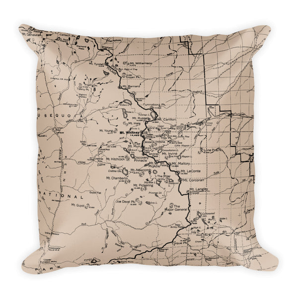 Sierra Nevada Map Premium Throw Pillow (18x18) - BEIGE | TRVRS APPAREL