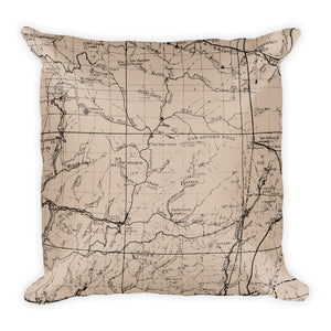 Angeles Forest Map Premium Throw Pillow (18X18) - BEIGE | TRVRS APPAREL