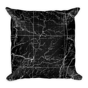 Angeles Forest Map Premium Throw Pillow (18X18) - BLACK | TRVRS APPAREL