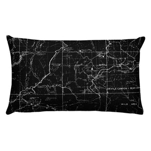 Angeles Forest Map Premium Throw Pillow (20x12) - BLACK | TRVRS APPAREL